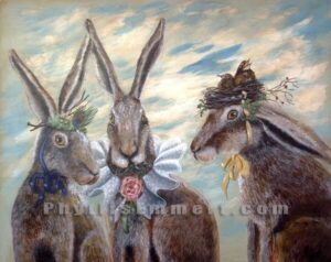 "A Gossip of Hares 20""x16"" Acrylic on canvas"