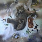 Cinnamon Bear Skies and The Impossible Lightness of Air 41 X 32 Oil on Canvas