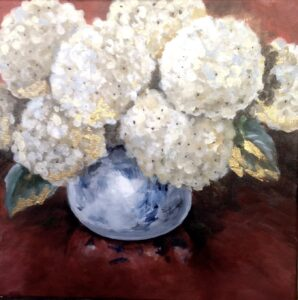 Hydrangeas in Blue China Bowl