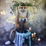 "Mysterious Night of Fox 44"" X 36"" Oil on Canvas"